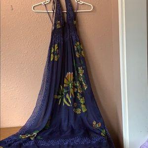 Floral deep blue dress